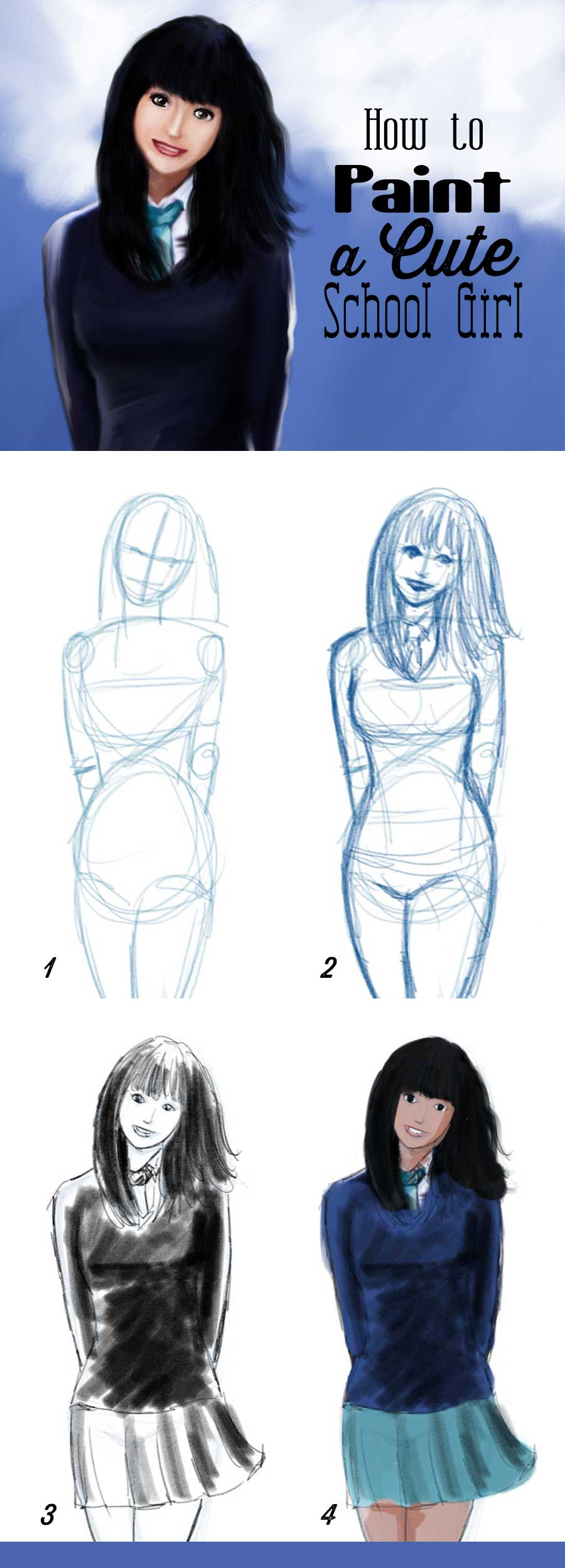 How to draw a cute school girl steps