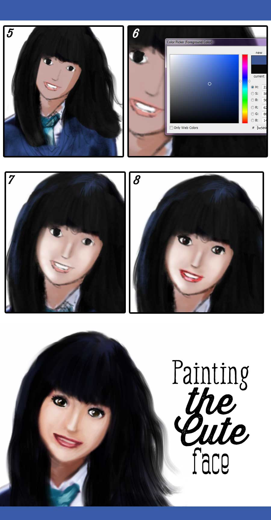 How to draw a cute school girl face steps