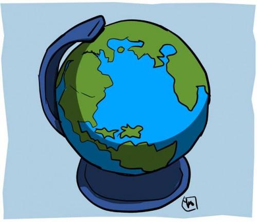 Cartoon Illustration of The Globe