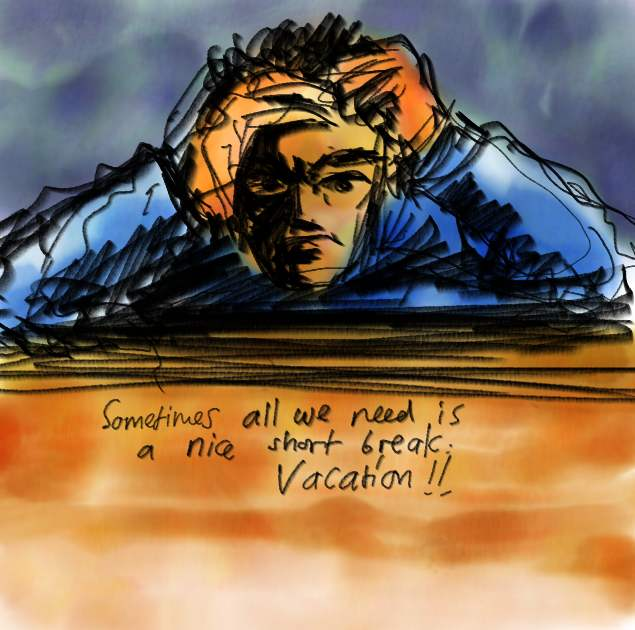 Pastel Illustration - Need Vacation