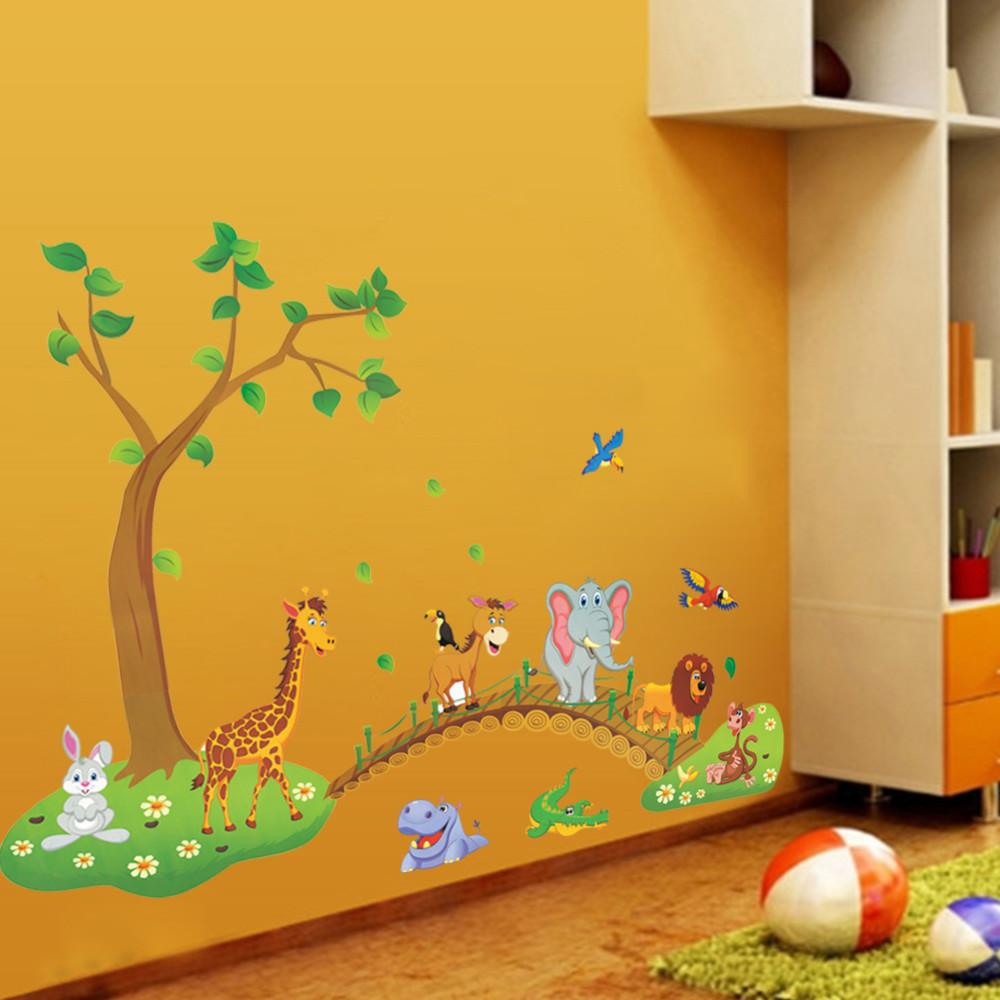 3d Cartoon Jungle Wild Animal Wall Stickers Drawing Talk