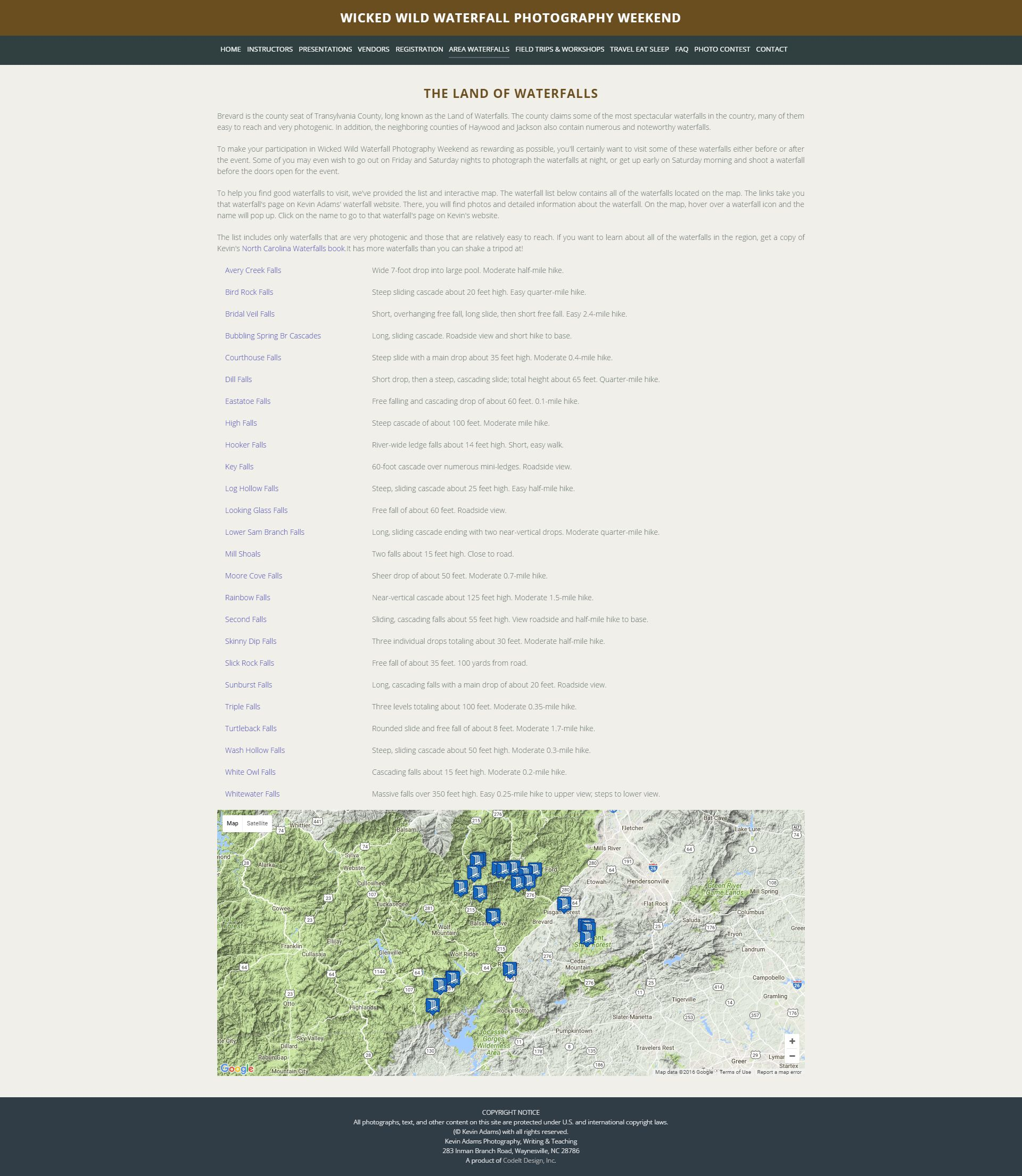 Google Map Page for Waterfall Photography Weekend