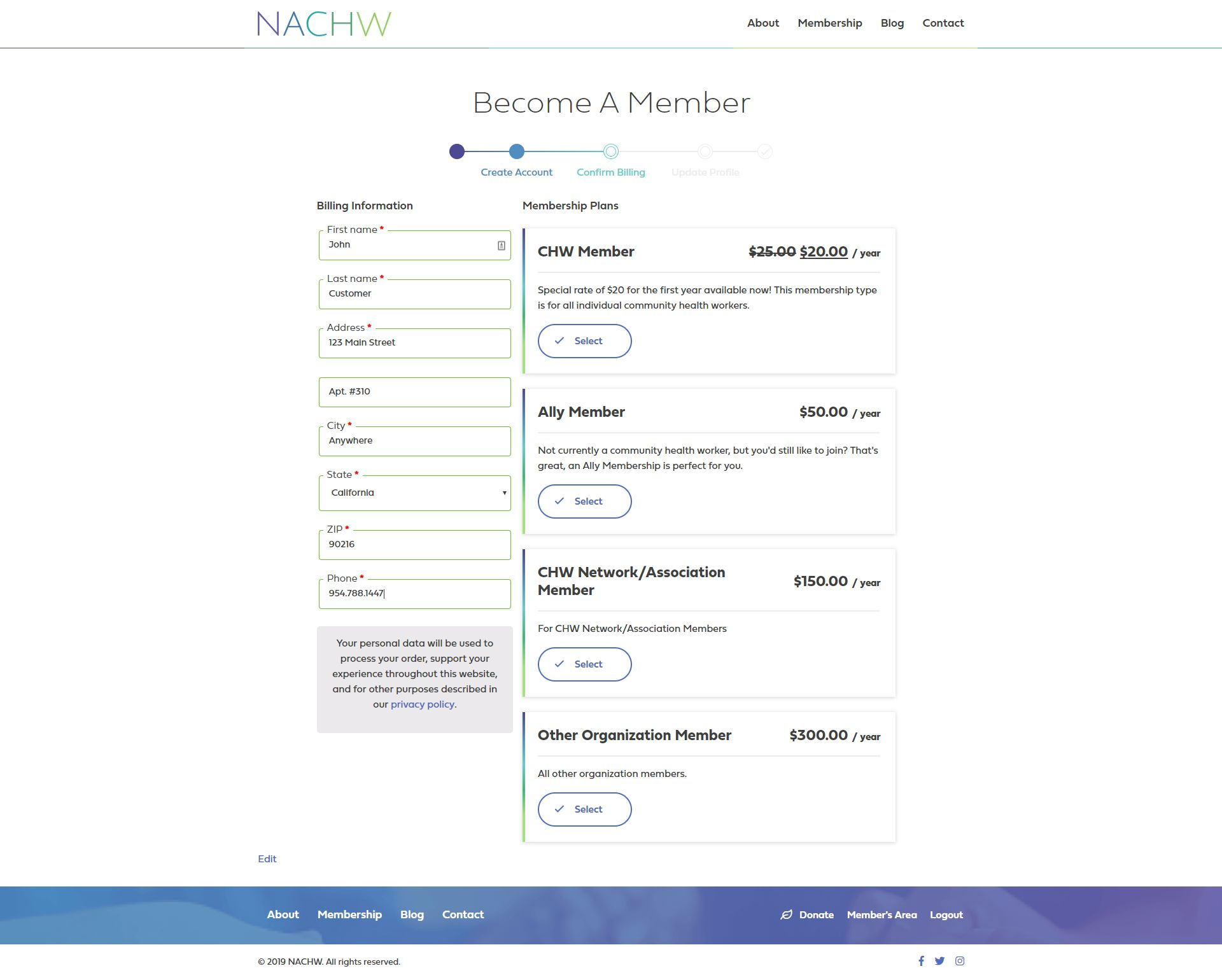 NACHW.org - Checkout