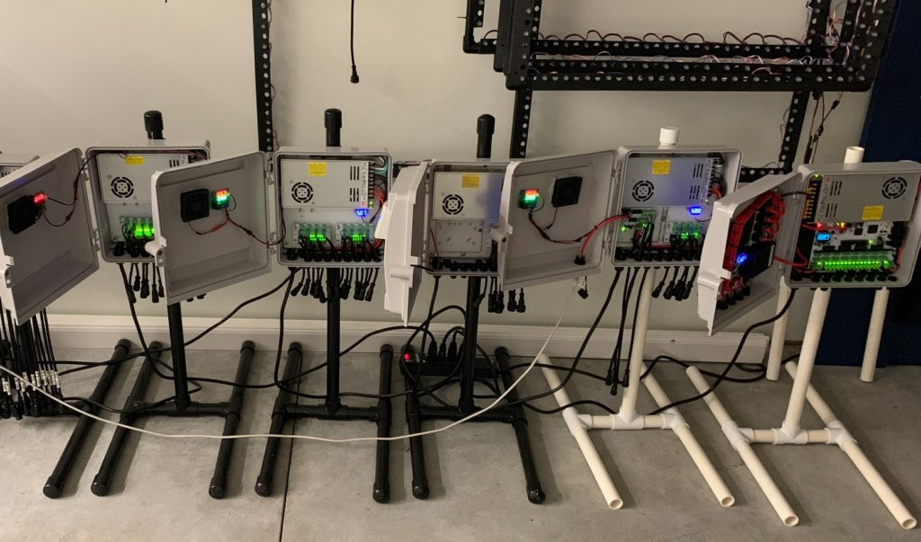 Lineup of recently build enclosures for controllers and power distribution.