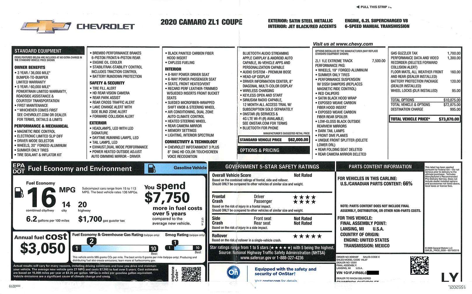 2020 Camaro ZL1