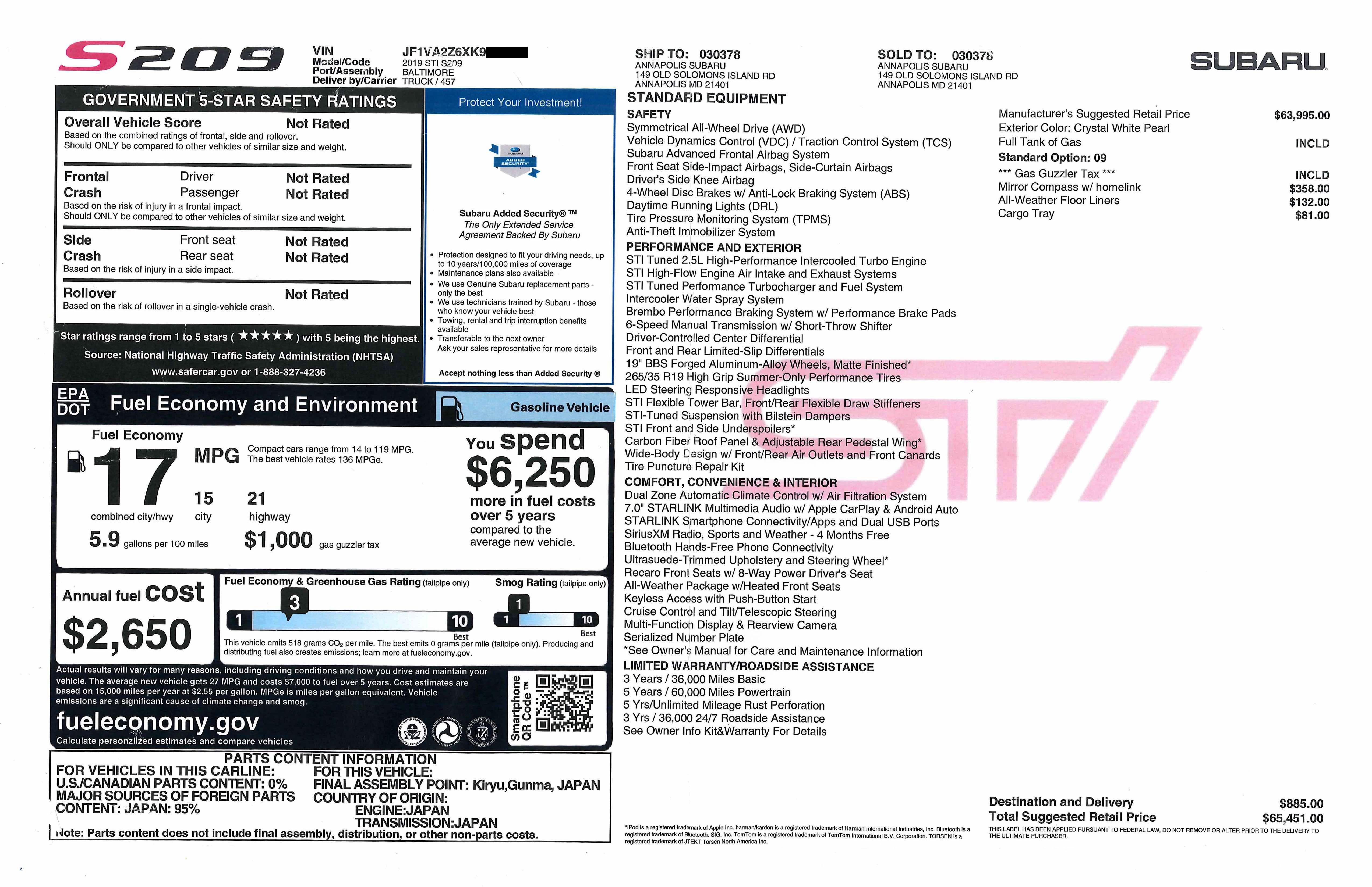 2019 Subaru STI S209 - 1 of 209 Made