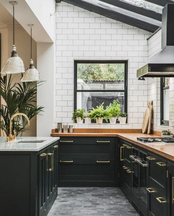 L-Shape-Kitchen-With-Island-Black-Cabinets