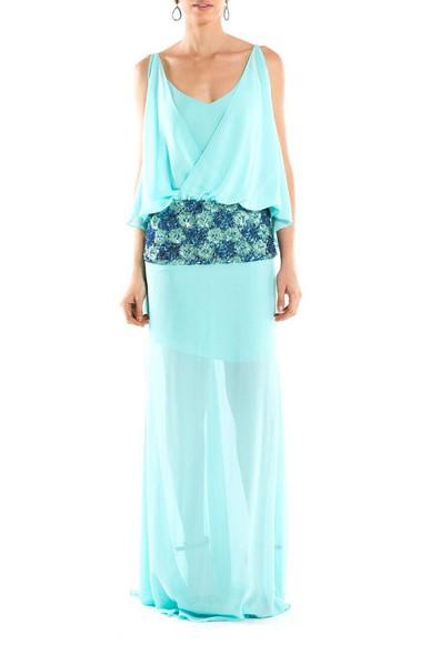 Vestido azul tiffany para alugar