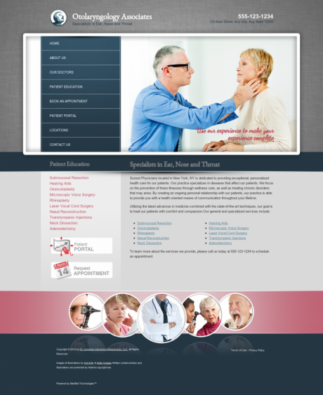 Otolaryngology Website Preview #1