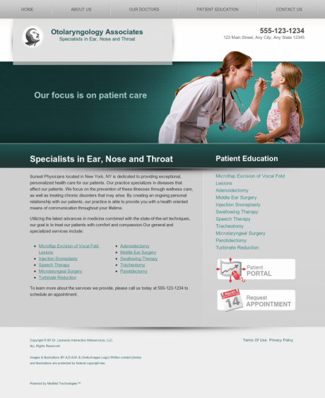 Otolaryngology Website Preview #5