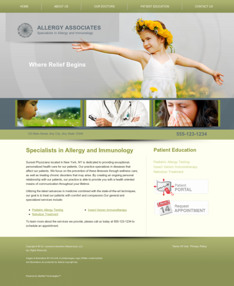 Allergy & Immunology Website Preview #1