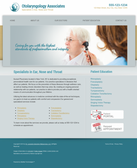 Otolaryngology Website Preview #6