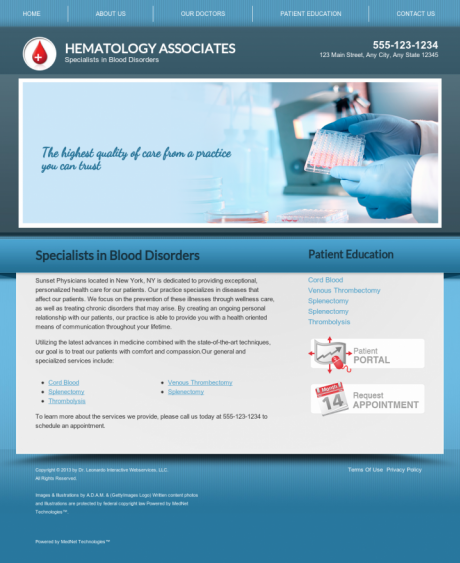 Hematology Website Preview #8