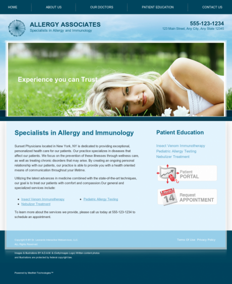 Allergy & Immunology Website Preview #6