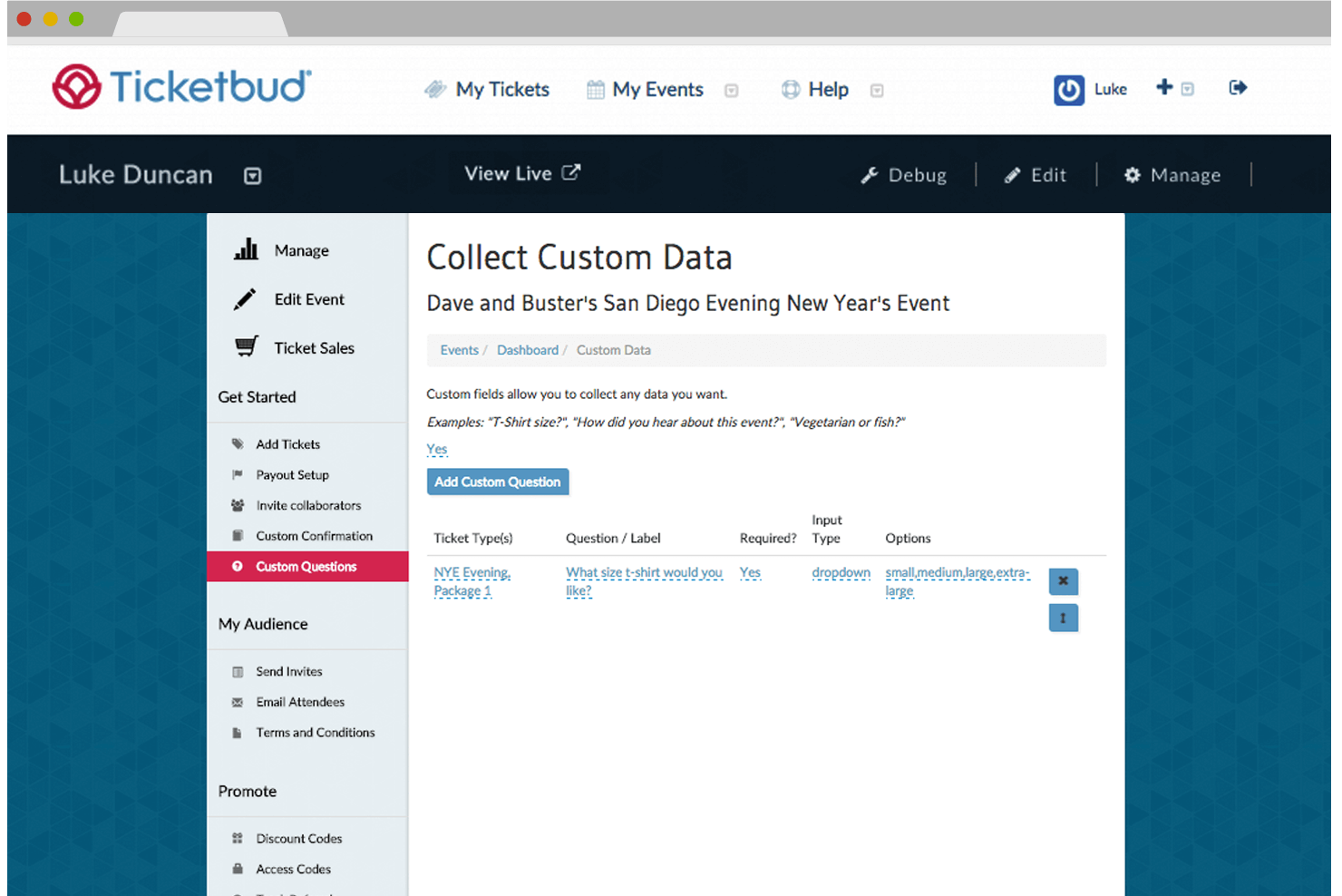 Example of custom reporting with Ticketbud's online event registration software.