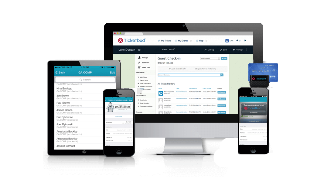 Example of management tools with Ticketbud's event registration on multiple types of platforms.