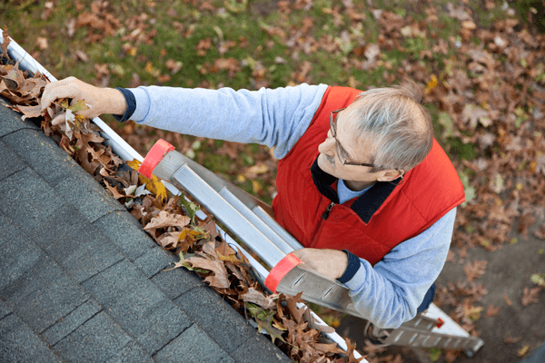 climbing ladders and cleaning clogged gutters