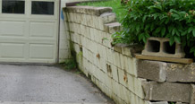 collapsing retaining wall