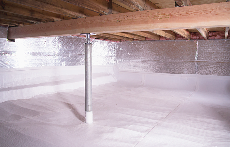 crawl space jack posts installed in an encapsulated crawl space in Madison Heights