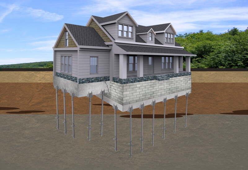 A graphic illustration of steel helical piers supporting a home foundation.