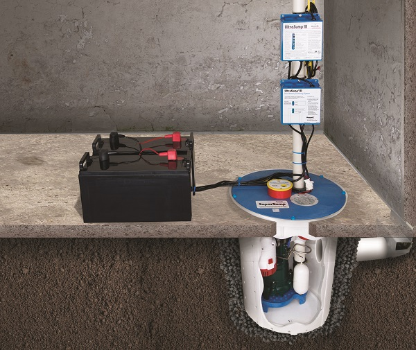 A sump pump system with a battery backup system installed in Manistee