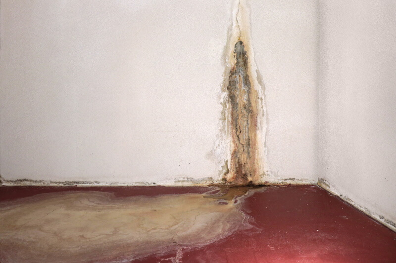 flooding through wall cracks