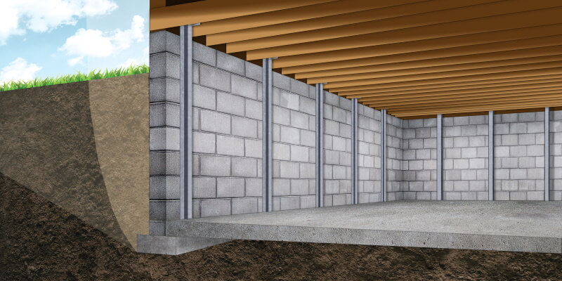 A PowerBrace™ i-beam foundation wall repair system in Ann Arbor