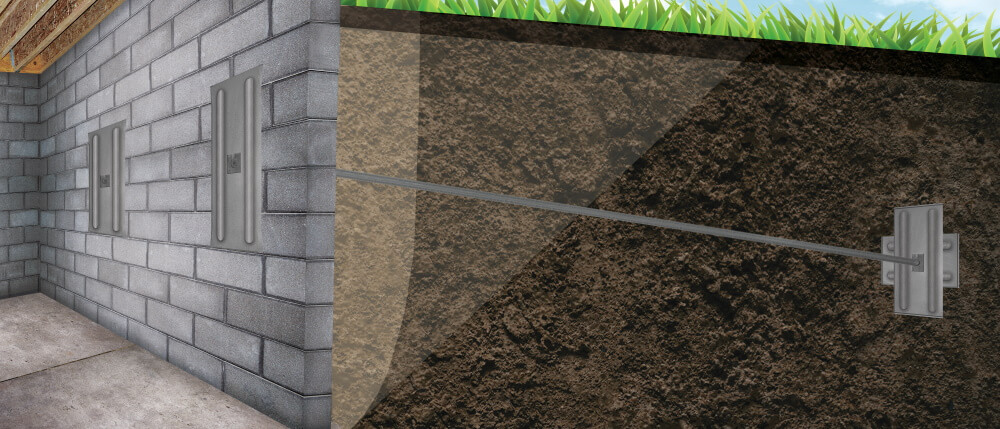 A graphic illustration of a foundation wall system installed in Manistee