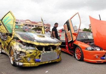 Modified cars showcased at the Borneo Auto Fest contest