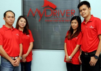 MyDriver - 06 (from left) Ng and his wife, Valerie Tan and Jackson Chong and Tee Ee Von who coordinates and delegates assignments to drivers