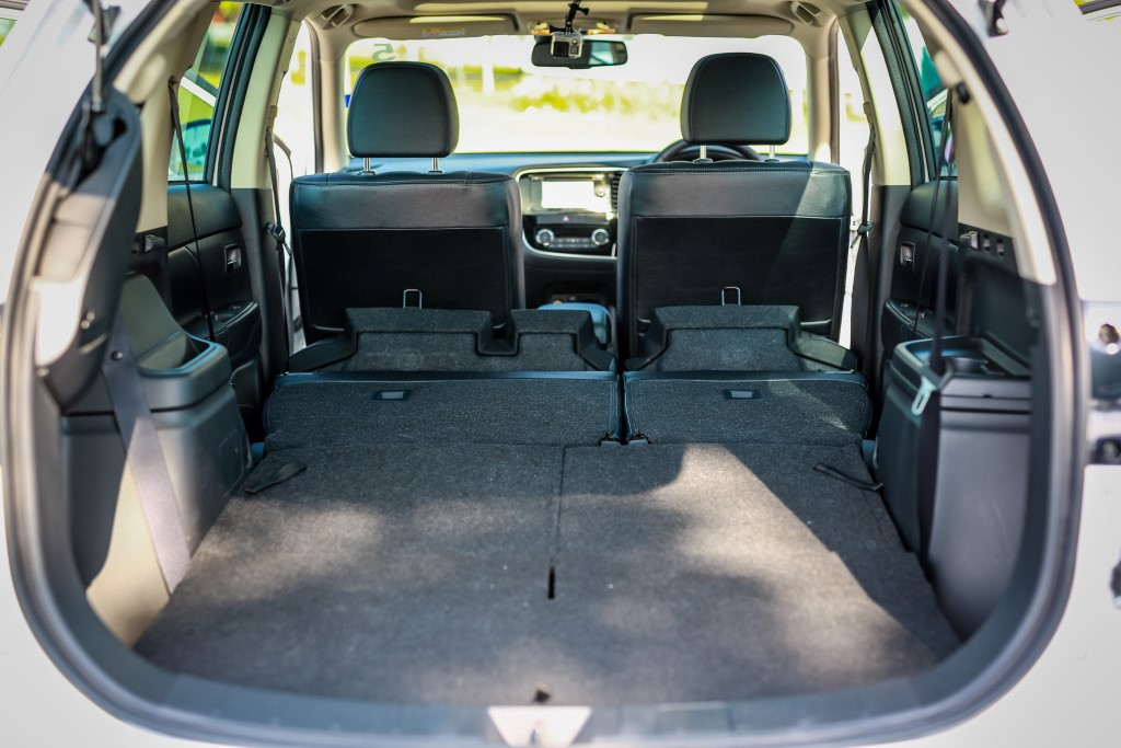 The Outlander leads with 1,608 litres of rear cargo space.