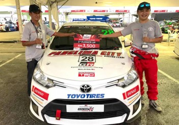 Vios Challenge race driver Kenneth Koh (on right) with his father Koh Hong Nam and race car