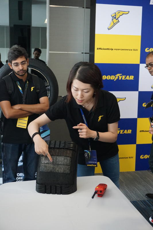 Goodyear EfficientGrip Performance SUV tyre. Clementine Han explaining the tyre's construction.
