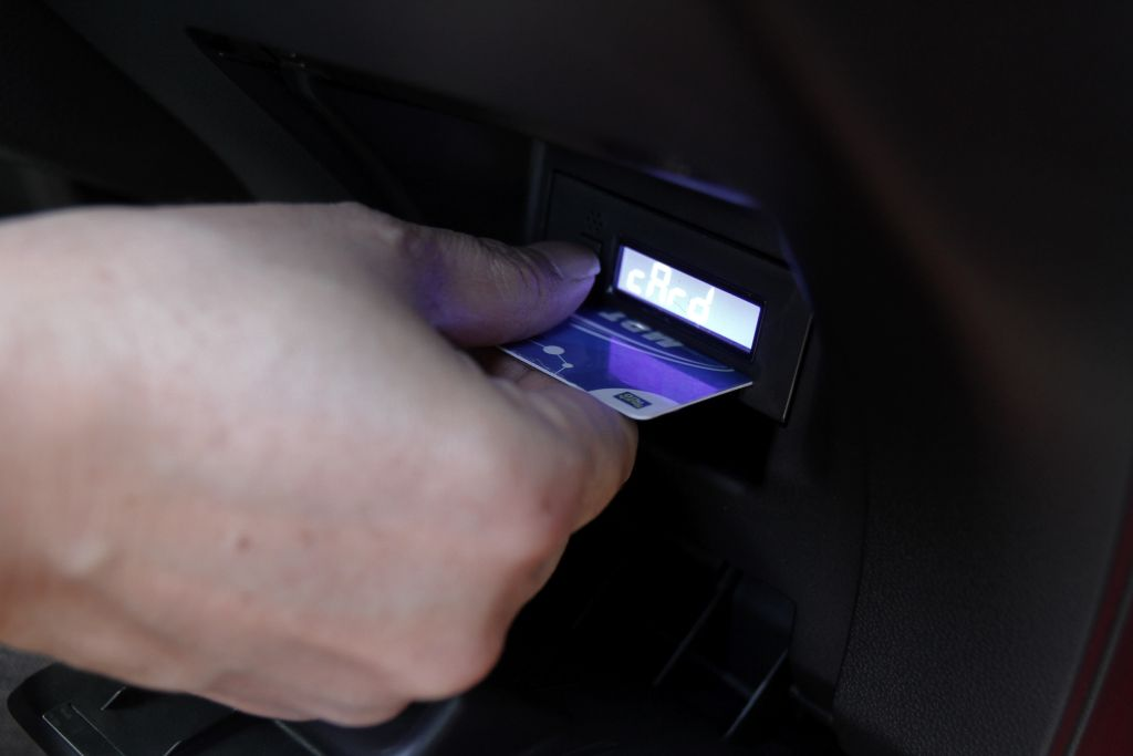 How useful! The built-in toll card reader.