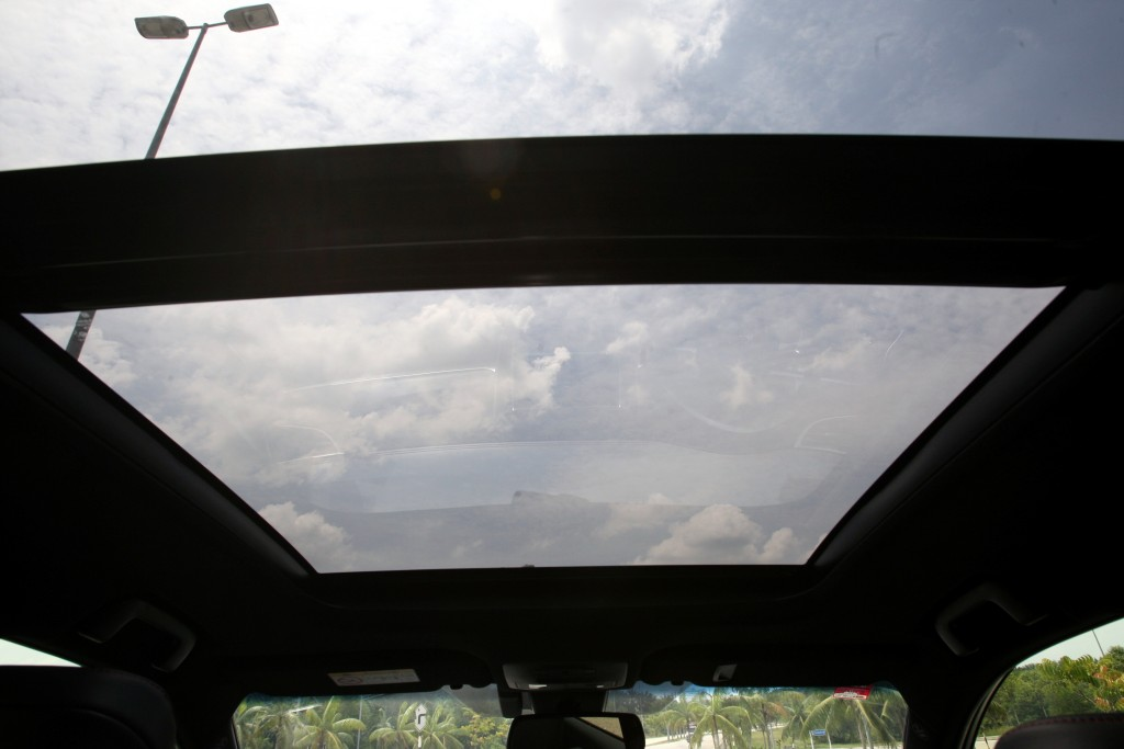 The Harrier's massive moonroof.