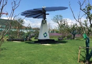 """A """"solar flower"""" power plant installed by solar manufacturer GCL is seen at the Jurong eco-town in Jiangsu"""