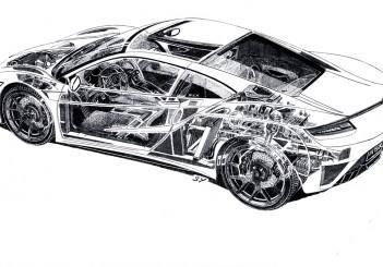 NSX Cutaway Sketch by Legendary Artist Shin Yoshikawa Reveals Hi