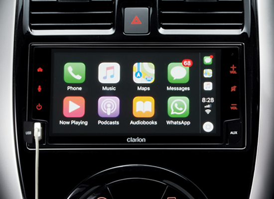 11 New Almera Black Series_Clarion Advanced Display Audio with Reverse Camera, Apply CarPlay & Andriod Auto