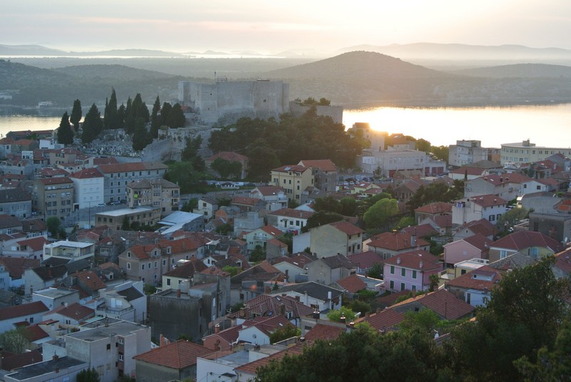 A scenic view of Sibenik from the hilltop Barone Fortress.
