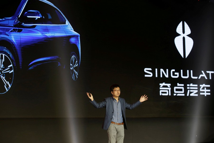 FILE PHOTO: Singulato's co-founder and CEO Shen Haiyin attends the launching ceremony of electric SUV Singulato iS6 in Beijing, China April 13, 2017. REUTERS/Jason Lee/File Photo