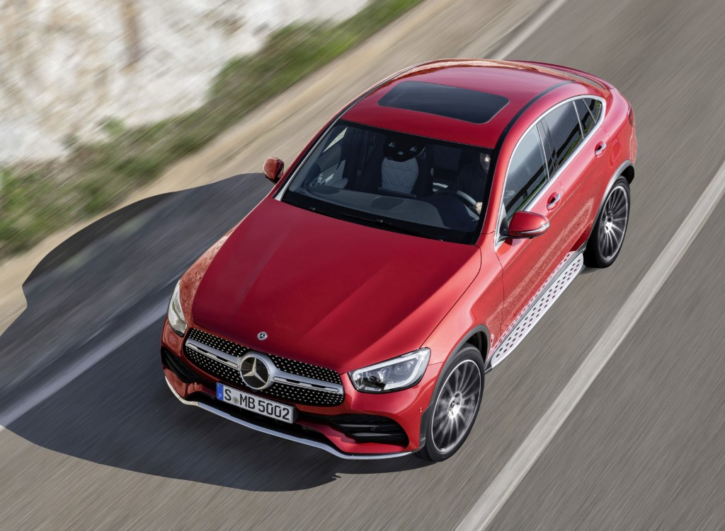 Mercedes-Benz GLC Coupé (C253), AMG Line, 2019, designo hyazinthrot metallic, Polster Leder designo platinweiß pearl / schwarz Mercedes-Benz GLC Coupé (C253), AMG Line, 2019, designo hyacinth red metallic, designo leather platinum white pearl / black