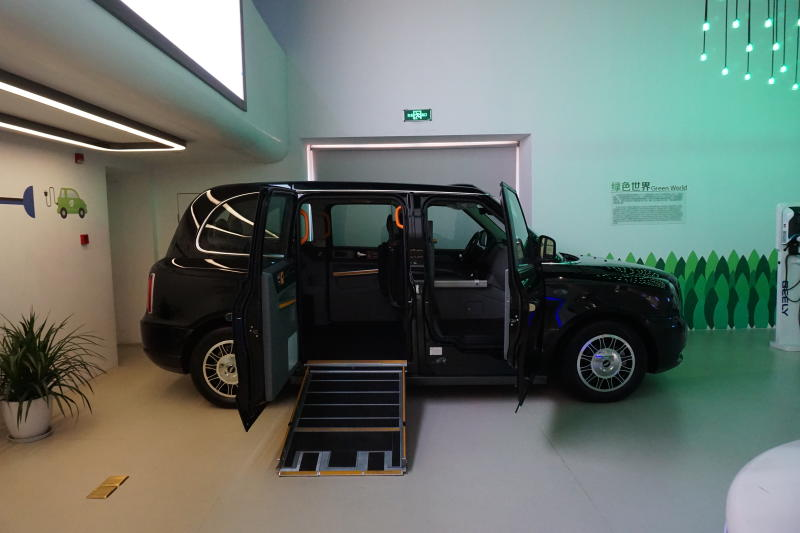 A London Taxi displayed at Geely's Experience Centre