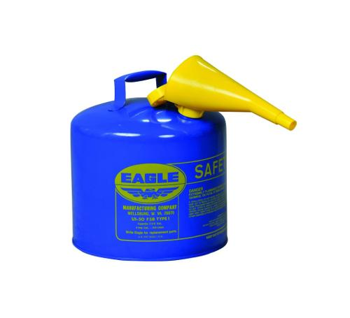 Eagle Type I Steel Safety Can for Kerosene w/ Funnel and Flame Arrester / Blue - 5 Gallon