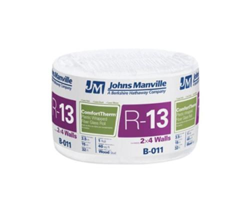 R13 3 1/2 in x 16 in x 96 in Johns Manville ComfortTherm Poly-Encapsulated Fiberglass Insulation
