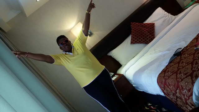 Onome Maureen at her 5-star Hotel room at Dubai
