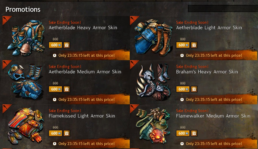 GW2 24 hr sale on lots of armor skins and outfits - Dulfy