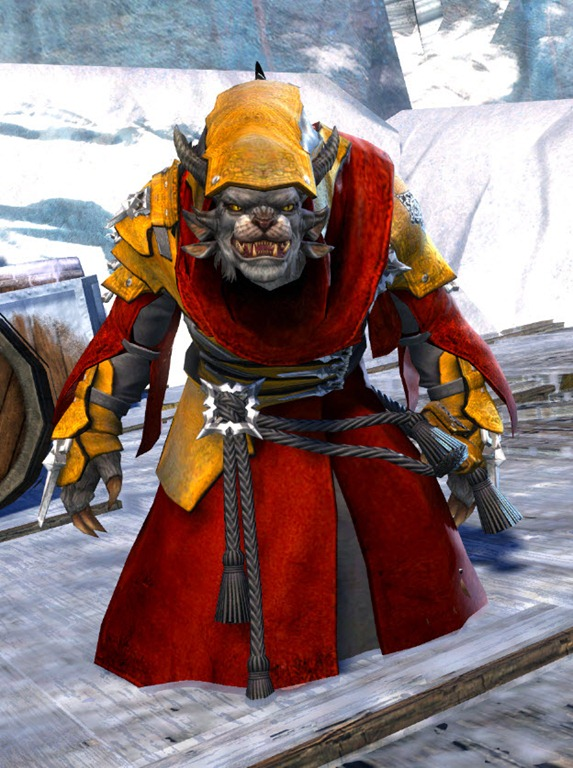 GW2 Arcane Outfit Pact Fleet Finisher and Mini Braham in