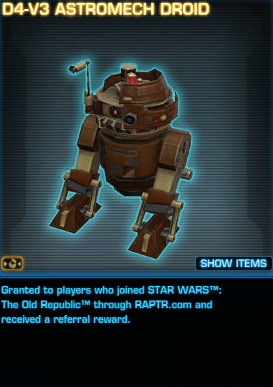 SWTOR Upcoming Promotional Pets from Cartel Coin Cards