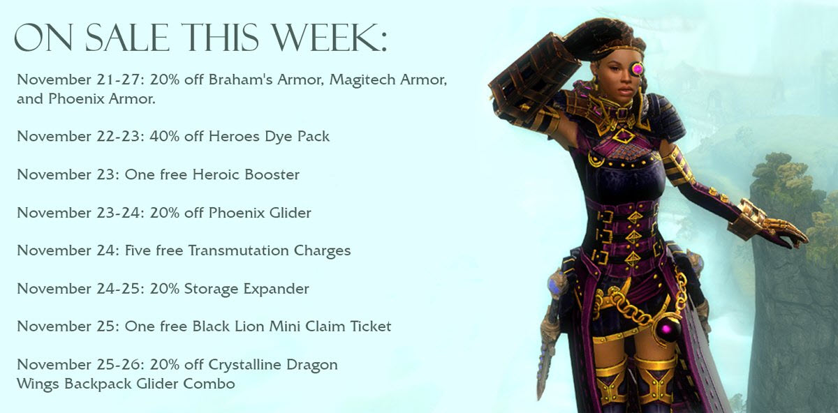 GW2 Gemstore Sales and Free Items for Nov 22-26 - Dulfy