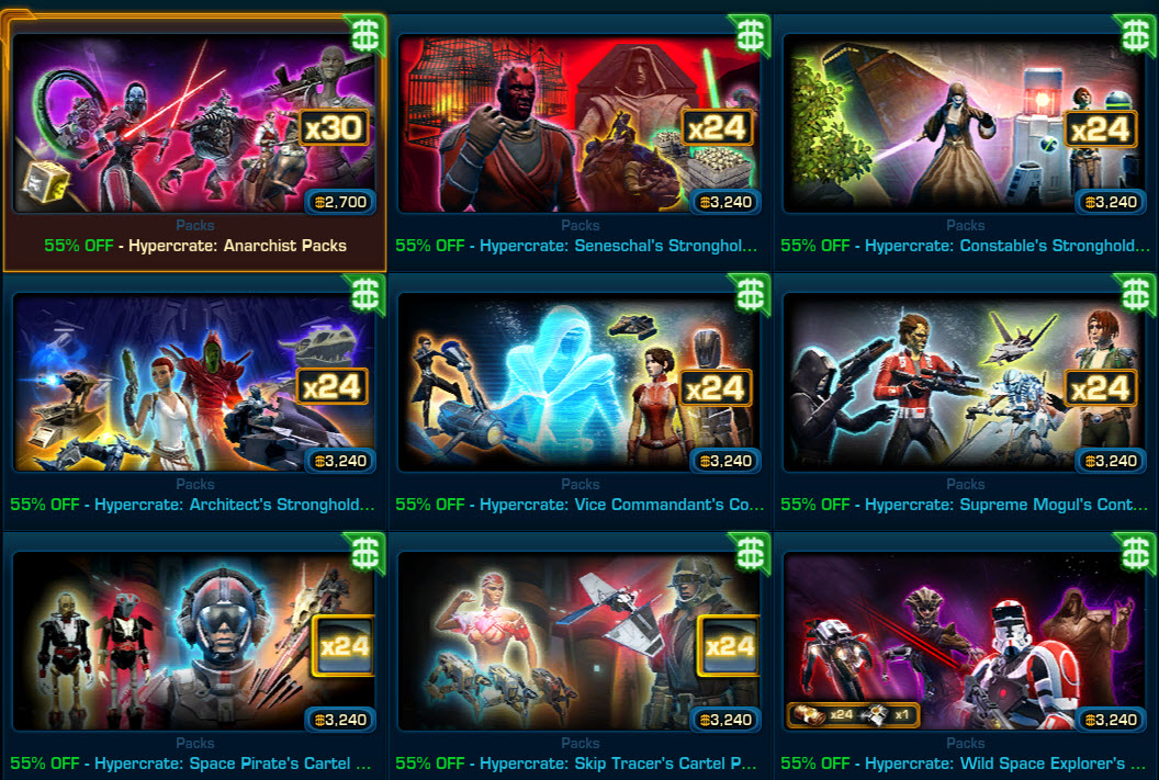 SWTOR Cartel Market Hypercrates 55% OFF for Black Friday - Dulfy